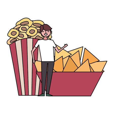 happy man with nachos and popcorn vector illustration Stok Fotoğraf - 124618892