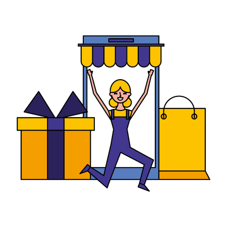 online shopping woman gift bag commerce vector illustration
