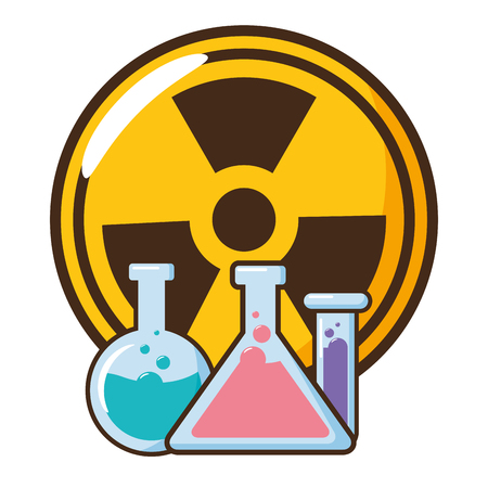 illustrazione vettoriale di pallone chimico e segno di radiazione Vettoriali