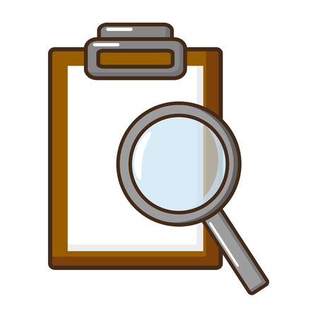science magnifying glass report clipboard vector illustration