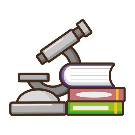 microscope books chemistry laboratory science vector illustration