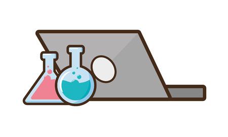 Laptop-Flaschen chemische Laborwissenschaft Vektor-Illustration