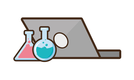laptop flasks chemical laboratory science vector illustration