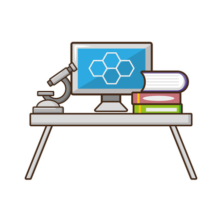 computer microscope books table laboratory science vector illustration Illustration