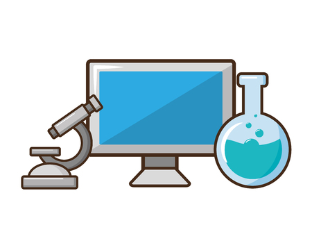 computer microscope test tube laboratory science vector illustration