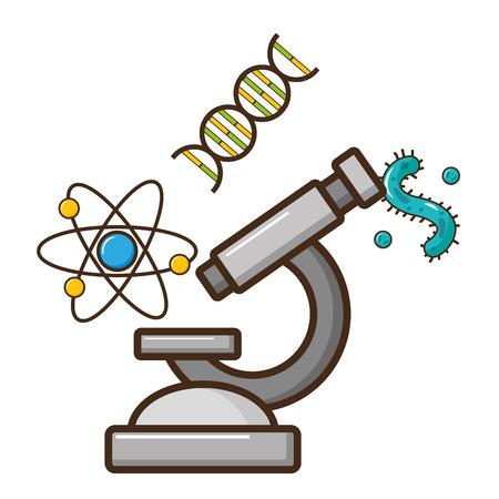 microscope molecule virus dna laboratory science vector illustration