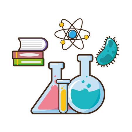 book molecule bacteria test tubes science vector illustration