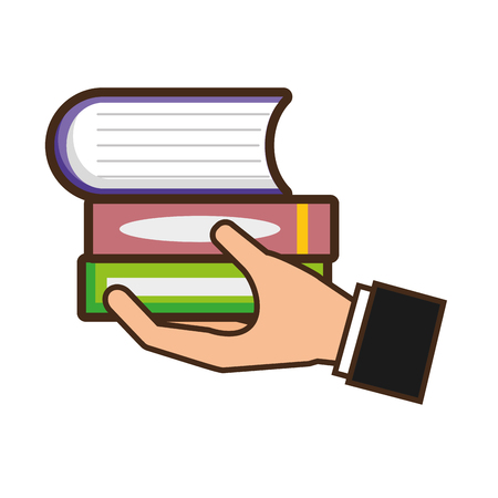hand holding books pile study vector illustration