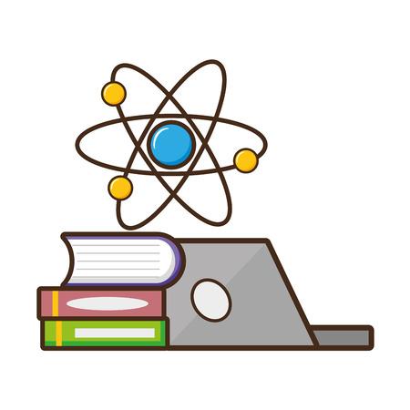 Computadora portátil, libros, molécula, laboratorio, ciencia, vector, ilustración