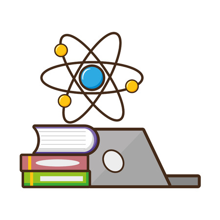 laptop books molecule laboratory science vector illustration