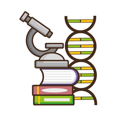 microscope, livres, ADN, laboratoire, science, vecteur, illustration Vecteurs