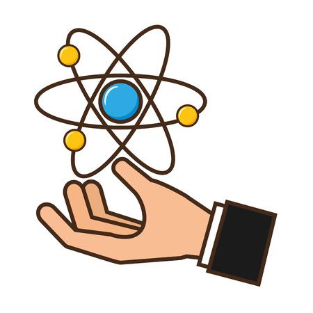 main tenant molécule atome science illustration vectorielle