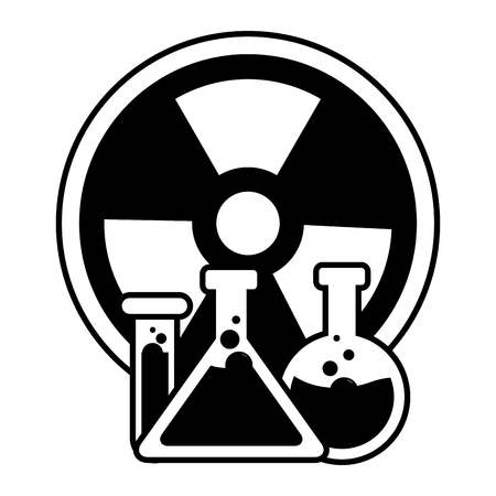 chemical flask and radiation sign vector illustration Stock fotó - 124618931