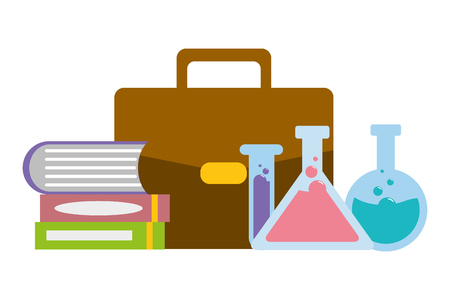 laboratory science bag book test tubes vector illustration Illustration