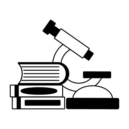 microscope books chemistry laboratory science vector illustration