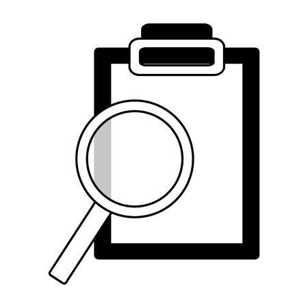 science magnifying glass report clipboard  vector illustration  イラスト・ベクター素材