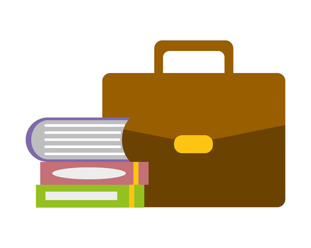 suitcase and books stacked supplies vector illustration