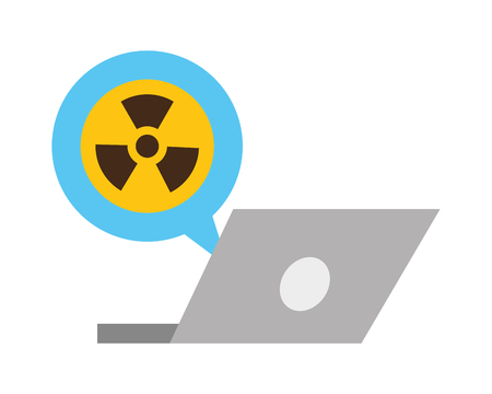 chemical laptop radiation warning sign vector illustration  イラスト・ベクター素材