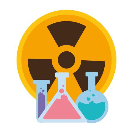 flacon chimique et signe de rayonnement vector illustration