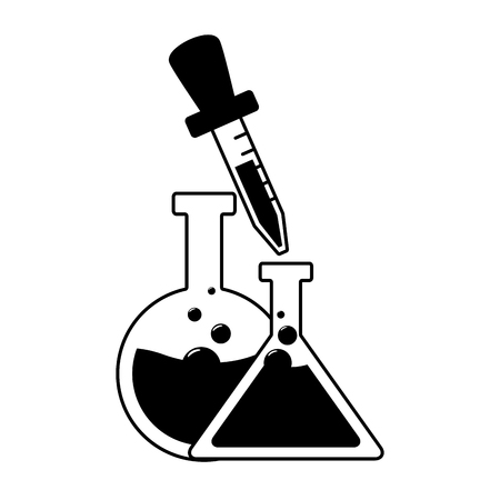chemical flasks and dropper laboratory  vector illustration Illustration