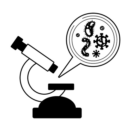 microscope virus analysis laboratory science  vector illustration