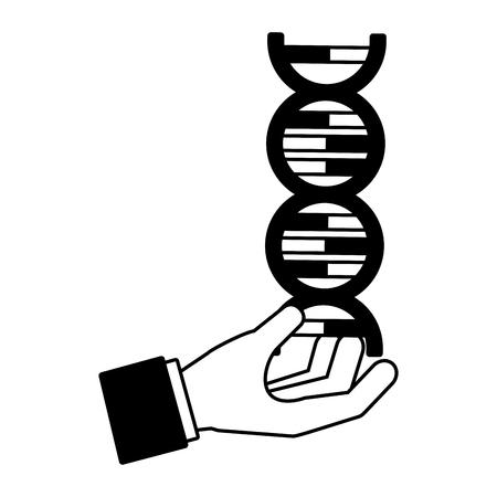 hand with molecule dna genetic science  vector illustration Illusztráció