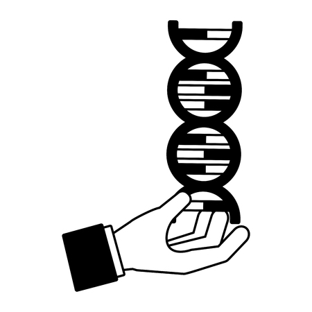 hand with molecule dna genetic science  vector illustration Illustration