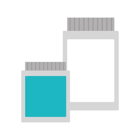 medicinal bottles laboratory science white background  vector illustration