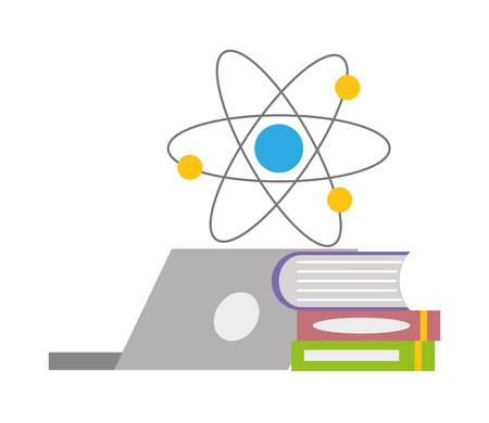 laptop books molecule laboratory science  vector illustration Illustration