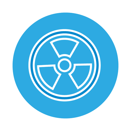 radiation symbol science on blue background  vector illustration
