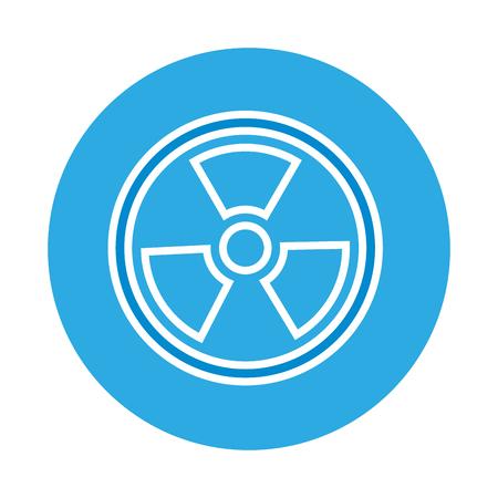 radiation symbol science on blue background  vector illustration