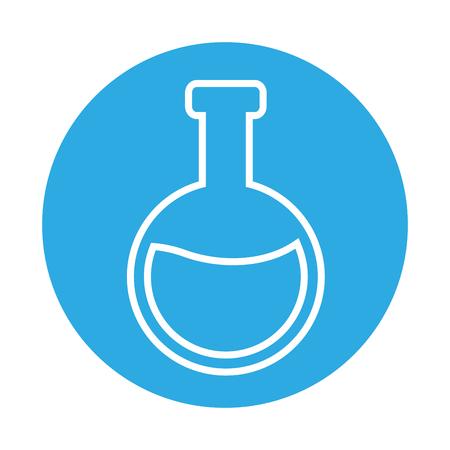 chemical flask laboratory on blue background  vector illustration