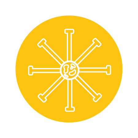 science bateria cell on yellow background  vector illustration Illustration