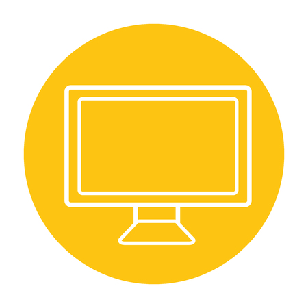 computer monitor device on yellow background vector illustration