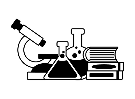 microscope books flask science laboratory vector illustration