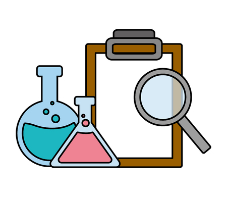 test tubes magnifier and clipboard laboratory science vector illustration Illustration