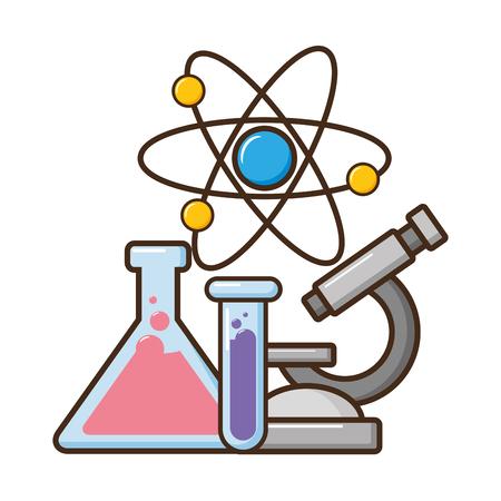 Mikroskop-Reagenzgläser und Atomwissenschaft-Vektorillustration Vektorgrafik