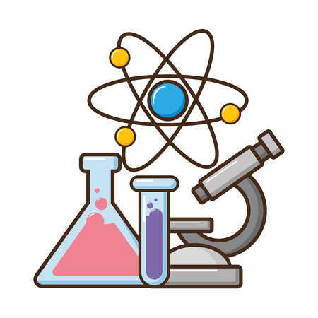 Tubes à essai de microscope et illustration vectorielle de science atomique Vecteurs