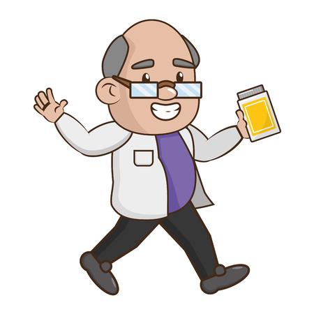 scientific professor with bottle laboratory science vector illustration