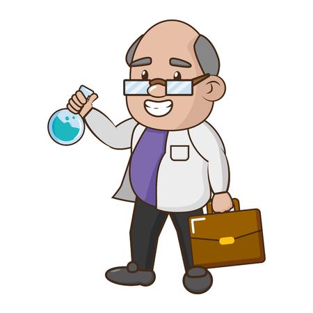 wissenschaftlicher Professor mit Reagenzglas- und Koffervektorillustration