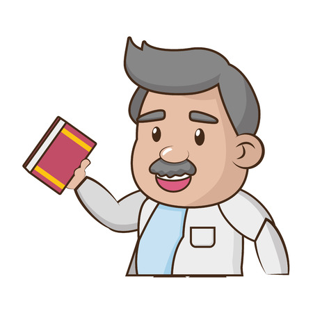 scientific professor with book science vector illustration