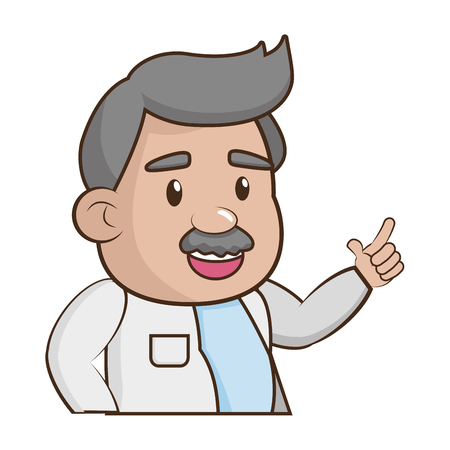 scientific professor character on white background vector illustration Ilustração