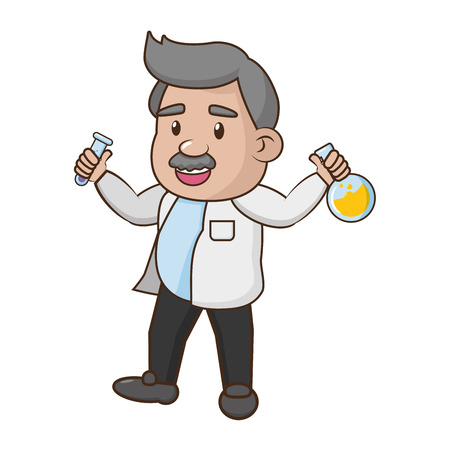 scientific with  flask laboratory science vector illustration Ilustração