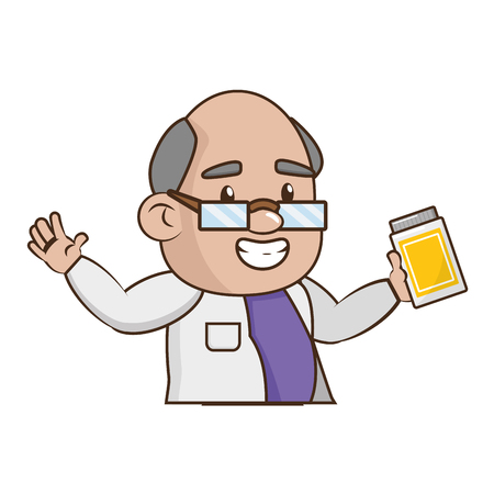 scientific professor with bottle laboratory science vector illustration