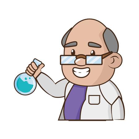 scientific professor with flask laboratory science vector illustration Ilustração