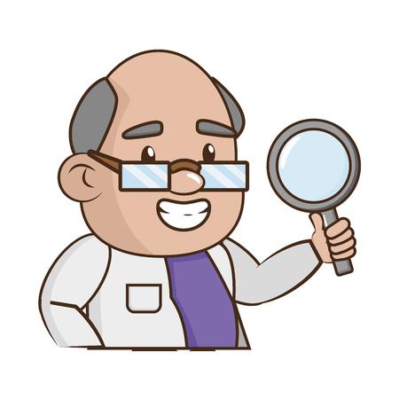 scientific professor magnifying glass laboratory science vector illustration