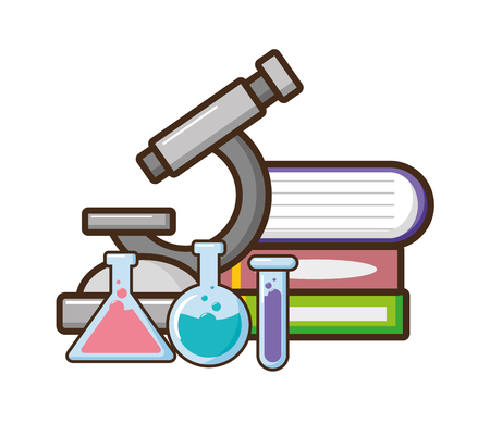 microscope books flasks laboratory tool science vector illustration