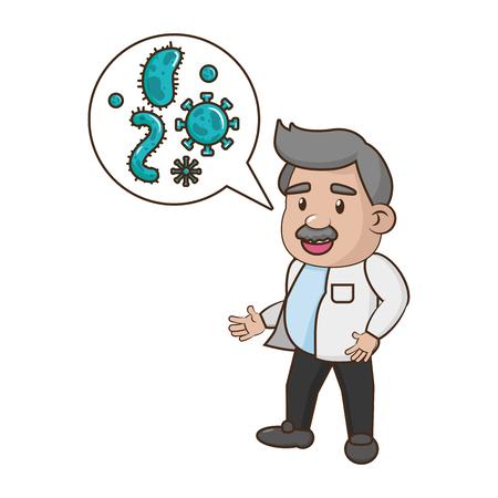 scientific professor sample bacteria cells science vector illustration