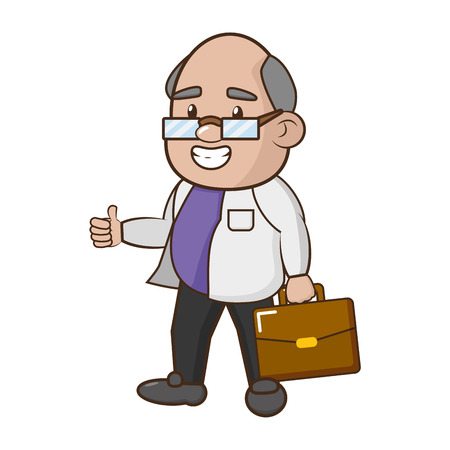 scientific professor character with portfolio vector illustration
