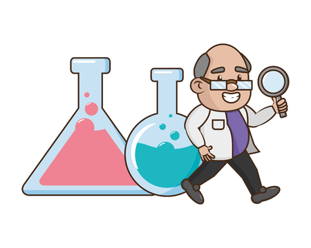 scientific magnifying glass test tubes laboratory science vector illustration Illustration